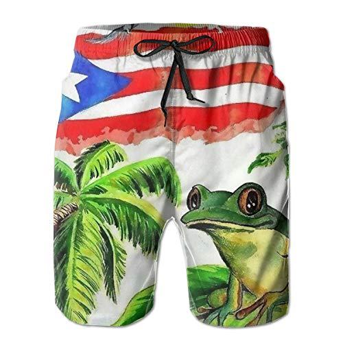 Good Sleep with Puerto Rico's Frog Men's Summer Casual Shorts Beachwear Sports Swimming Short Trunks Quick Dry Swim Trunks White