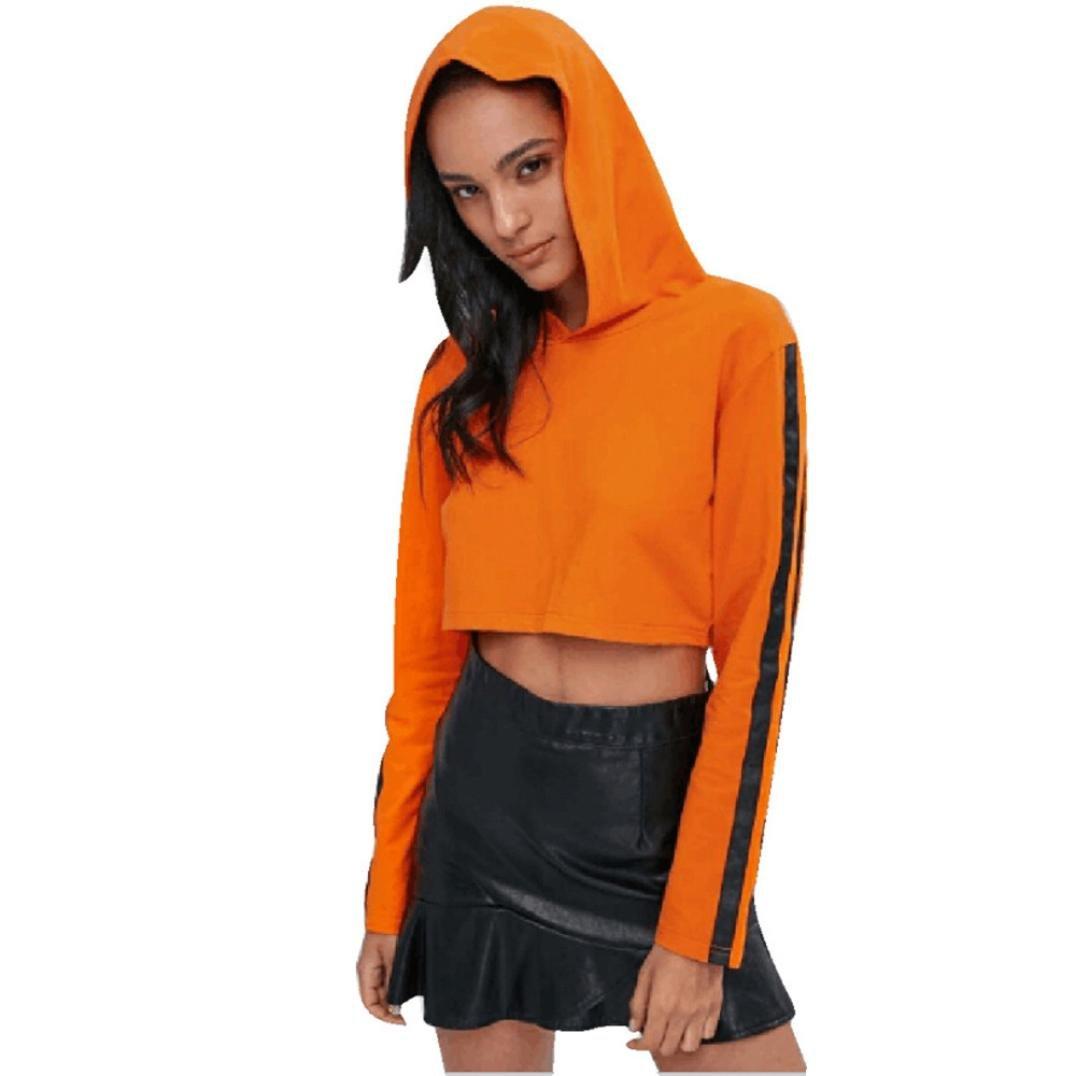 Teen Girls Crop Top Hoodies,Ankola Women Hooded Sweatshirts Long Sleeve Autumn Hoodie Jacket Short Tops Shirt (M, Orange)