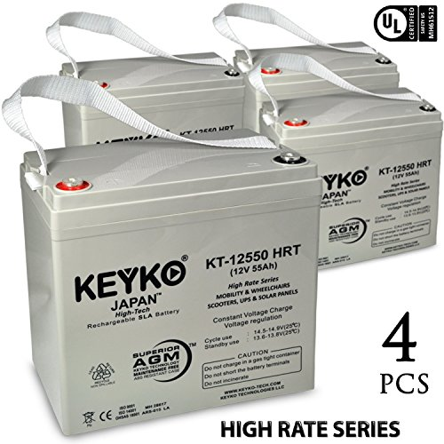 Pride Legend XL 12V 55Ah Deep Cycle SLA Sealed Lead Acid Rechargeable Replacement BatteryGenuine KEYKO - Threaded IT T-1 Terminal - 4 - Mall Legends Hours