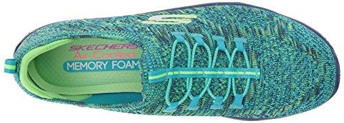 Skechers Sport Frauen Empire Sharp Denken Mode Sneaker Blau / Limette