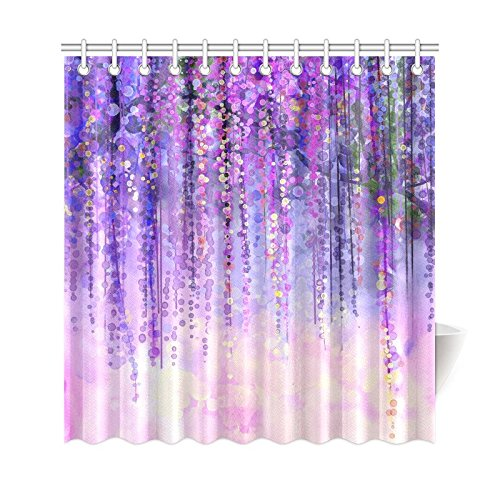 Violet Wisteria Tree - InterestPrint Wisteria Flowers Tree Home Decor, Purple Violet Floral Polyester Fabric Shower Curtain Bathroom Sets with Hooks 69 X 72 Inches