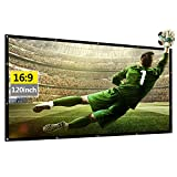 Occer 120 Inch Portable Projector Screen 16:9 HD Foldable Lightweight Double Sided Projection Movie Screen,Anti-Wrinkles Screens for Home Theater,Film,Party,Game,Outdoor & Indoor