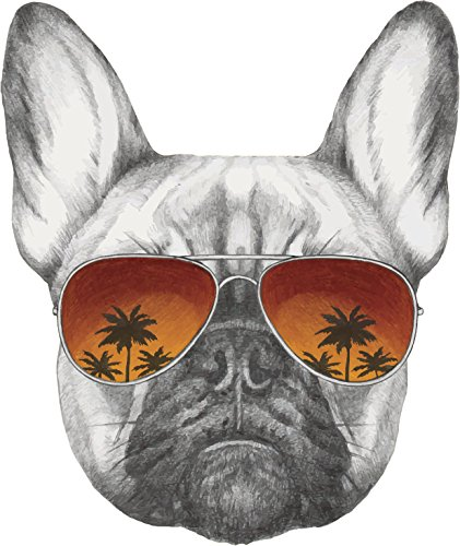Cool Pencil Sketch Frenchie French Bulldog with Sunset Sunglasses Vinyl Decal Sticker (8