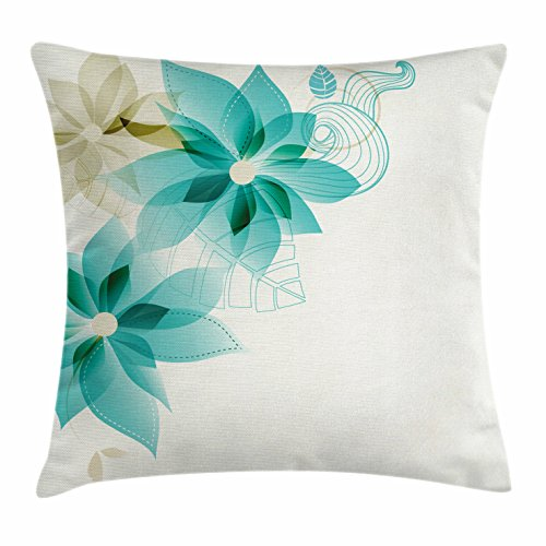 Teal Throw Pillow Cushion Cover by Ambesonne, Vintage Inspired Floral Elegance with Abstract Vibrant Colored Natural Elements, Decorative Square Accent Pillow Case, 24 X 24 Inches, Turquoise Beige
