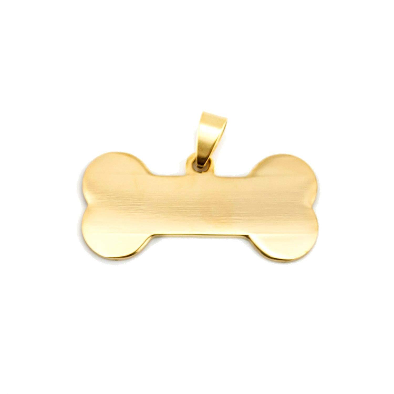Dog Bone Charm Pendant Small Kitten Puppy Pet Id Blank Dog Tag for Print Mirror Polish Stainless Steel 50 Pcs,19x40 Gold