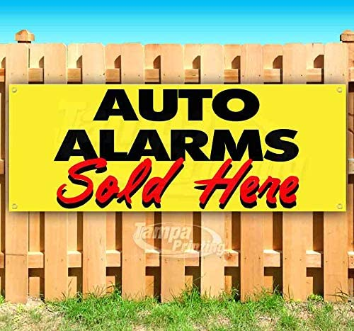 New Flag, Store Many Sizes Available Advertising AUTO Alarms Now Open 13 oz Heavy Duty Vinyl Banner Sign with Metal Grommets