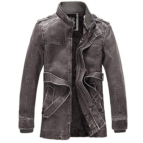 Bebete5858 Fashion Washed Men's Motorcycle Leather Jacket mid Long Leather Jacket Coat with Pocket Man Student boy Velvet