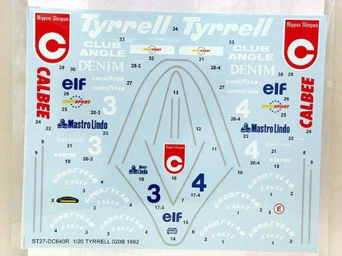 【STUDIO27/スタジオ27】1/20 ティレル 020B フルシーズン 1992 フルスポンサーデカール