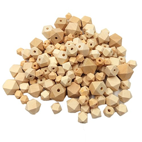 Wendysun 150pcs Natural 6 Sizes Geometric Hexagonal Beads Unfinished Wooden Beads Faceted Cube for Baby Teether Necklace Bracelet DIY Wooden Teether Art&Craft Accessories Supply&Wood Crafts