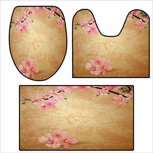 qianhehome Bathroom Household Rug Cherry Blossom Sakura Branch on Vintage Grunge Background Spring Print for Light Brown Baby Pink.Non Slip Comfortable SND Soft (Deer Run Brown Cherry)
