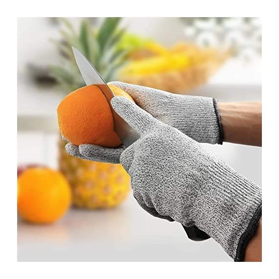 Iktu 1 Pair Cut Resistant Gloves, High Performance Level 5 Protection, Food Grade Kitchen Glove for Hand Safety while Cutting, Cooking, doing Yard Work (Free Size) 7