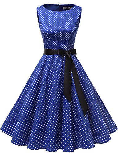 (Gardenwed Women's Audrey Hepburn Rockabilly Vintage Dress 1950s Retro Cocktail Swing Party Dress Royal Blue Small White Dot)