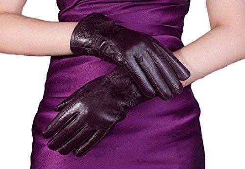Youchan(ヨウチャン) 手袋 グローブ ファー ぼんぼん 裏ボア レザー 無地 あったかグッズ 防寒 ギフト 5本指 彼女 レディース (パープル)