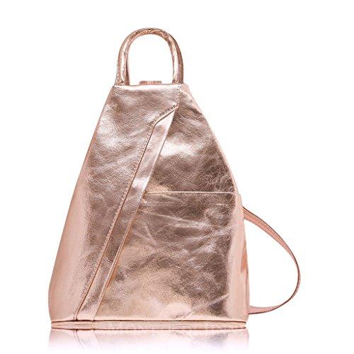 Italian Weight Backpack Flap Real Gold Shoulder Rose With Adjustable Leather Leaf Soft Genuine Bag And Light Rucksack Super Yn5Zppz4