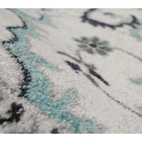 Tapis De Salon Oriental Ciudad Creme Et Bleu 160x230cm Aucune