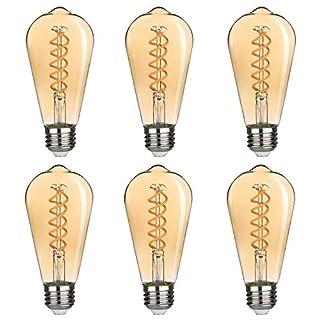 BORT (ST64/ST19) Vintage LED Edison Bulbs, 4.5W, Warm White 2500K, Antique LED Filament Light Bulbs, Dimmable, 40W Equivalent, 400LM, E26 Standard Base (Amber Finish-6 Pack)