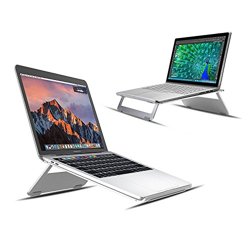 Vogek Foldable and Portable Aluminum Laptop Stand for Macbook Air Macbook Pro and iPad Pro (Silver)