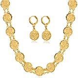 Allah Jewelry Set Women 18K Gold Plated Coin Necklace Earrings