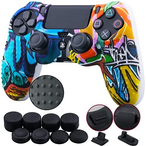 9CDeer 1 Piece of Silicone Studded Water Transfer Protective Sleeve Case Cover Skin + 8 Thumb Grips Analog Caps + 2 dust Proof Plugs for PS4/Slim/Pro Dualshock 4 Controller, Graffiti