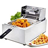 SUNCOO 2500W Electric Deep Fryer Countertop Fryer Commercial with Basket Stainless Steel 6Liter French Fries Fryer Restaurant 1 Tank