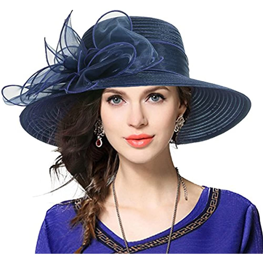 89f1aa6088538 Kentucky Derby Church Dress Hat Wide Brim Leaf Flower Bridal Shower Hat ( Navy) at Womens Clothing store