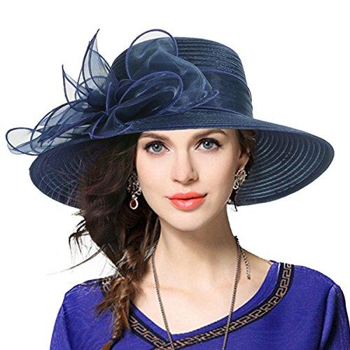 Kentucky Derby Church Dress Hat Wide Brim Leaf Flower Bridal Shower Hat (Navy)