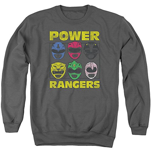 Mighty Morphin Power Rangers TV Series Ranger Helmets Adult Crewneck Sweatshirt (Mighty Morphin Power Ranger Helmet)