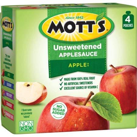 Mott's Unsweetened Applesauce, 3.2 oz, 4 count - 6 Pack