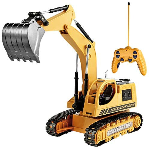 Remote Control Excavator Toy for Boys & Girls Excavator Toy for Toddlers Toy for Gifts Birthday Gift for Boys Toy Excavator with Flashing Lights (Upgrade Version)