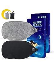 Mavogel Cotton Sleep Eye Mask - Updated Design Light Blocking Sleep Mask, Soft and Comfortable Eye Blindfold for Men Women, Eye Mask for Sleeping/Travel/Shift Work, Includes Travel Pouch, Grey & Black