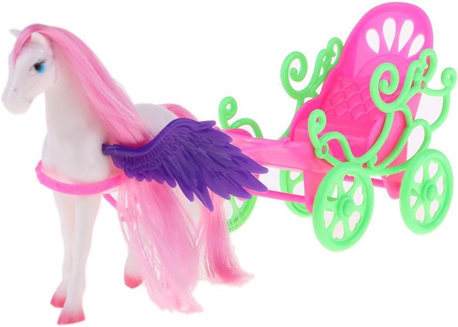 Caballo de Carruaje de Pegaso Plástico Miniatura con ala para 1/6 Muñecas Niña Accesorios Juegos