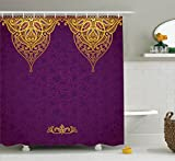 Bohemian Curtains Purple Decor Shower Curtain Set By Ambesonne, Eastern Oriental Royal Palace Patterns With Bohemian Style Art Traditional Wedding Decor, Bathroom Accessories, 69W X 70L Inches, Purple Gold