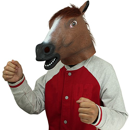 BengPro Novelty Latex Rubber Creepy Horse Head Mask Halloween Party Costume - Creepy Latex