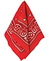 "Multi-Purpose Bandana Western Cowboy Costume Party Headwear, Red, Fabric, 20"" x 20""."