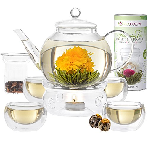 Amazon teabloom blooming tea set stovetop safe glass teapot amazon teabloom blooming tea set stovetop safe glass teapot with 12 flowering teas tea warmer 4 double wall teacups removable glass infuser for mightylinksfo