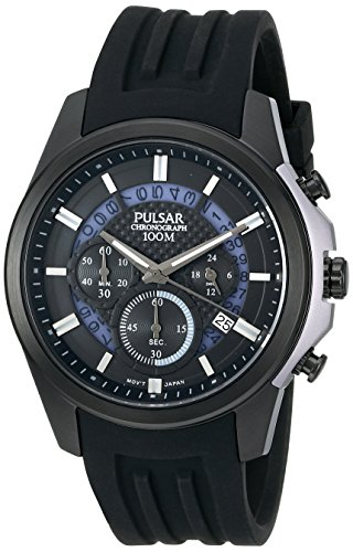 Digital Analog Pulsar - Pulsar Men's PT3527 On The Go Analog Display Japanese Quartz Black Watch