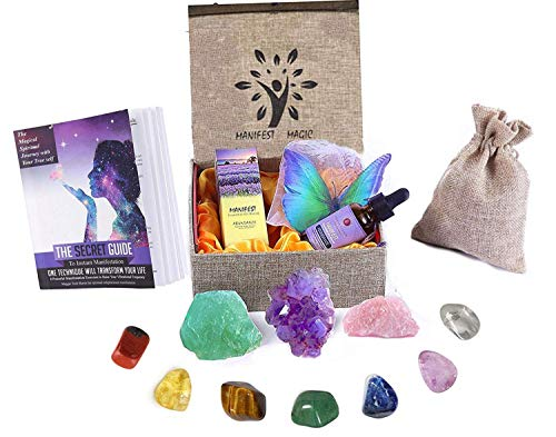 Luxury Healing Crystals Collection for Abundance, 7 Charka Stones,Amethyst, Fluorite, Pink Quartz, Aromatherapy Abundance Oil, 3D Butterflies, Guide, Custom Box Premium Gift for Money Manifestation