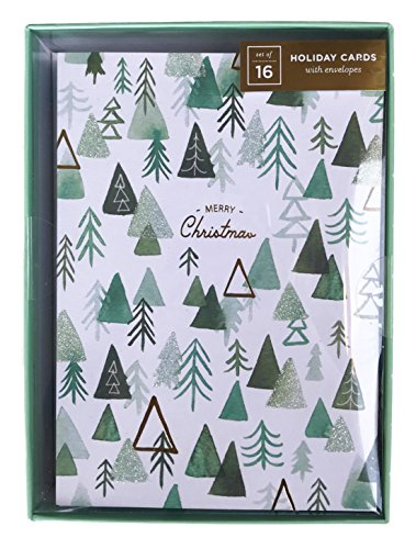 - Merry Christmas Glitter Trees Box of 16 Christmas Holiday Cards and Envelopes
