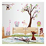 Cheerful High Quality Adhesive Rooms Walls Vinyl DIY Stickers / Murals / Decals / Tattoos For Kids Bedrooms / Nurseries With Tree, Zoo Animals Giraffe, Monkeys, Zebra, Elephant, Lion, Birds Designs In Many Colours By VAGA