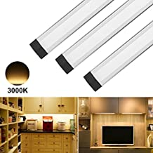 ANSCHE Under Cabinet Led Lighting, 3 X 4W Dimmable Under Closet LED 1100LM Lighting Portable Ultra Thin Light Bar with Wireless Remote Control Silver Night Light for Counter Kitchen Bathroom Stairway (CRI 90+, Warm White 3000K)