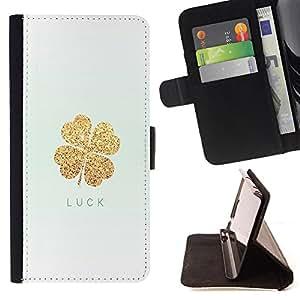 - Good Luck Lucky - - Monedero PU titular de la tarjeta de cr?dito de cuero cubierta de la caja de la bolsa FOR HTC One M9 Retro Candy