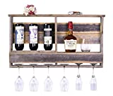 del Hutson Designs - The Barnwood Bar w/ Inverted Wine Rack, Long Stem Glass Holder & Shelf, Rustic USA Handmade Reclaimed Wood