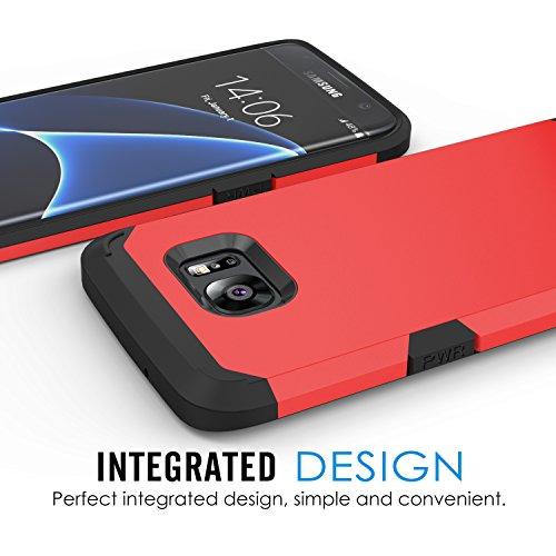 MoKo Galaxy S7 Edge Funda - Resistente Armadura Híbrida Parachoque / Bumper Back Cover Case para para Samsung Galaxy S7 Edge 5.5 Smartphone 2016 Edición ( No Apta Galaxy S7 Edge Edge ), Rojo Rojo