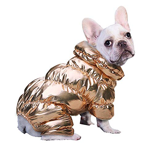 PET ARTIST Winter Puppy Dog Coats for Small Dogs,Cute Warm Fleece Padded Pet Clothes Apparel Clothing for Chihuahua Poodles French Bulldog Pomeranian Gold Chest:18