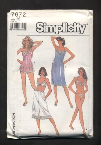 Simplicity Slip, Camisole, Bra, Panties, Bikini and Culottes Slip Sewing Pattern #7672