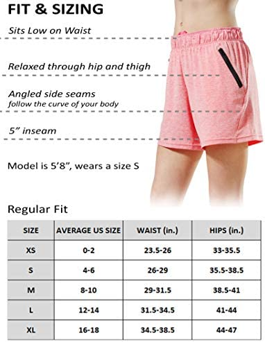 Liberty Imports Pack of five Women's Quick Dry Heather Yoga Training Shorts with Zipper Pockets
