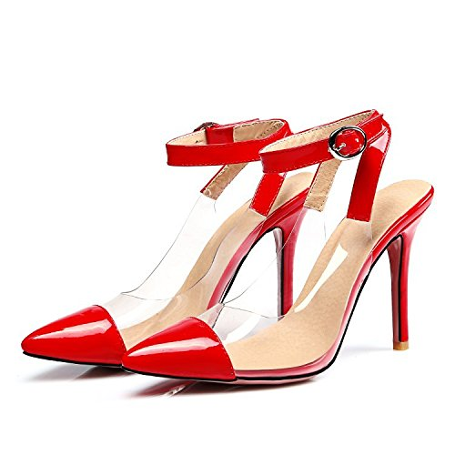 XDGG donne grandi dimensioni Summer Stiletto Heel Sandali femminile Splicing trasparente fibbia tacchi alti , red , 47 custom 2-4 days do not return