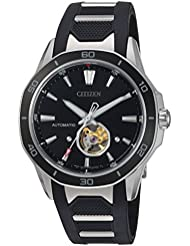Citizen Mens Signature Mechanical Hand Wind Stainless Steel and Polyurethane Dress Watch, Color:Black (Model...
