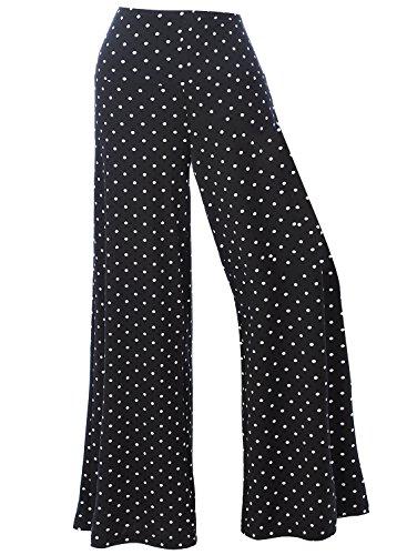 Arrisol Women's Stretchy Wide Leg Palazzo Lounge Pants (XL, D-Polka Dot) by Arrisol (Image #1)