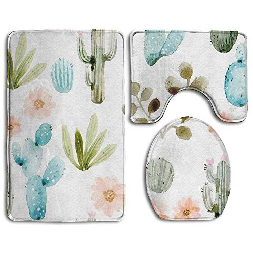 - Non Slip Absorbent Water Bathroom Rug Toilet Sets, Cactus and Daisy Fashion Bathroom Rug Mats Set 3 Piece Anti-Skid Pads Bath Mat + Contour + Toilet Lid Cover